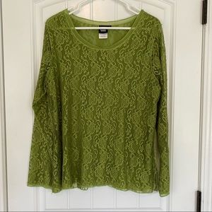 Sharon Young Green Lace Long Sleeve Top Large